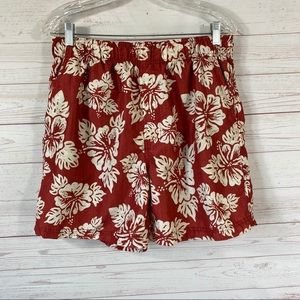 Op Hawaiian Print Mesh Lined Swim Trunks M 32-34